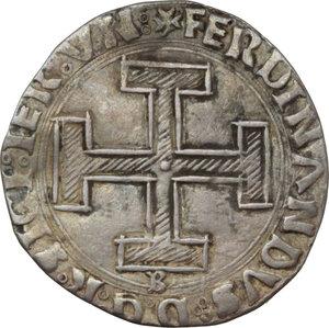 D/ Napoli. Ferdinando I d'Aragona (1458-1494). Coronato con sigla B (Benedetto de Cotrullo Maestro di Zecca 1460-1468).    P/R 12. MIR 66/2. AG. g. 3.17  mm. 27.00    BB.
