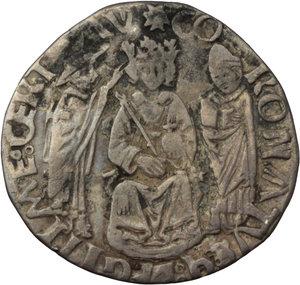 R/ Napoli. Ferdinando I d'Aragona (1458-1494). Coronato con sigla B (Benedetto de Cotrullo Maestro di Zecca 1460-1468).    P/R 12. MIR 66/2. AG. g. 3.17  mm. 27.00    BB.