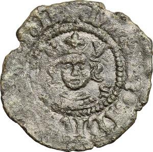 D/ Napoli. Ferdinando I d'Aragona (1458-1494). Denaro con S alla destra del Re.    P/R 31c. MIR 81/3. MI. g. 0.63  mm. 17.00  R.  qBB-BB.