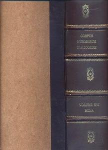 D/ AA.VV. Corpus Nummorum Italicorum Vol. XVI, Roma parte II.dal 1572 al 1700. Roma, 1936. Ril. mezza pelle con scritte al dorso, pp.524, tavv. 40. Raro
