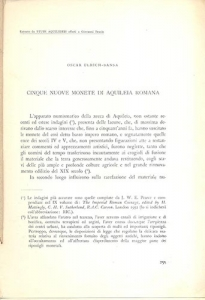 obverse: Ulrich Bansa Oscar. Cinque nuove monete di Aquileia romana. Aquileia, s.d. Brossura muta, pp. 42, tavv. 2. raro.