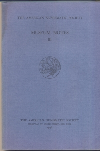 obverse: Museum Notes  III. New York, 1948. Pp. 154, tavv. 26. Ril. ed.