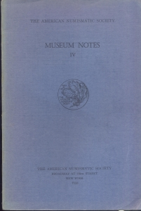 obverse: Museum Notes  IV. New York, 1950. Pp. 130, tavv. 24. Ril. ed. importante