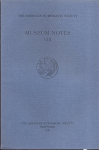 obverse: Museum Notes VIII. New York, 1958. Pp. 220, tavv. 43. Ril. ed.