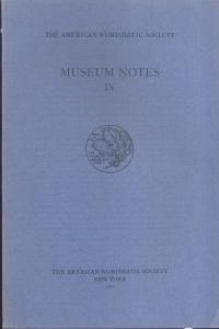 obverse: Museum Notes IX. New York, 1960. Pp. 243, tavv. 16. Ril. ed.