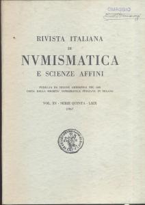 D/ Rivista italiana di Numismatica. Milano, 1967. Pp.249, ill. e tavv. nel testo. ril. ed.