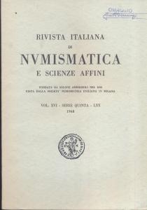 obverse: Rivista Italiana di Numismatica. Milano, 1968. Pp.319, ill. e tavv. nel testo. ril. ed.