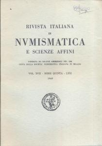 obverse: Rivista Italiana di Numismatica. Milano, 1969. Pp. , ill. e tavv. nel testo. ril. ed.