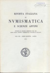 obverse: Rivista Italiana di Numismatica. Milano, 1971. Pp.362, ill. e tavv. nel testo. ril. ed. rara