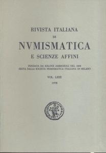 obverse: Rivista Italiana di Numismatica. Milano, 1978. Pp. 346, ill. e tavv. nel testo. ril. ed.