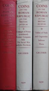 obverse: GRUEBER Herbert Appold. Coins of the Roman Republic in the British Museum. Ristampa London 1970 dell edizione London 1910. Tela 3 voll., pp. cxxv, 1432 (594, 602, 236), tavv. 123 raro