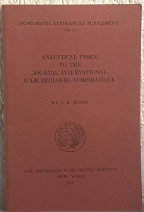 obverse: JONES J. R. Analytical index to the journal International d'archeologie numismatique. New York, 1967. pp. 49 importante lavoro