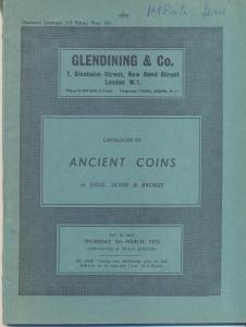 D/ GLENDINING & Co.- Catalogue ancient coins in gold, silver & bronze. London, 5 – March – 1970. Pp. 48, nn. 501, tavv. 15. Ril. editoriale, buono stato, prezzi Agg. manoscritti. Importante vendita. SPRING 249