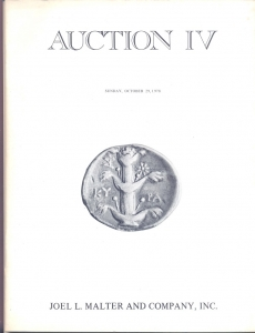 D/ MALTER J. L. – Auction IV. The coinage of ancient Judaea and the tetradrachms of roman Egypt – plus other ancient coins , Judaean antiquites…. Los Angeles, 29 – October – 1978. Pp. 19, nn. 487, tavv. 16. Ril. editoriale, lista prezzi Val. buono stato importante.