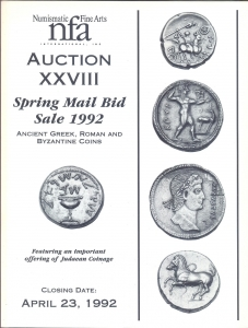 obverse: NUMISMATIC FINE ARTS. Auction XXVIII. Spring mail bid sale 1992. Ancient greek, roman and byzantine coins, feautring an important offering of Judean coins. Chicago, 23 – April – 1992. Pp. no numerate, nn. 1571, tavv. 56. Ril. editoriale, buono stato, lista prezzi Agg. importante serie Judaica
