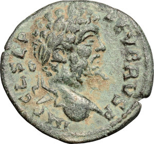 D/ Septimius Severus (193-211). AE 23mm, Antioch mint,  Syria, 193-211 AD.  D/ Head of Septimius Severus right, laureate. R/ Genius standing left, wearing modius on head, holding branch and cornucopiae. SNG France 1113 var. ( obv. legend). AE. g. 5.17  mm. 23.00   Olive green patina. About VF.