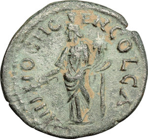 R/ Septimius Severus (193-211). AE 23mm, Antioch mint,  Syria, 193-211 AD.  D/ Head of Septimius Severus right, laureate. R/ Genius standing left, wearing modius on head, holding branch and cornucopiae. SNG France 1113 var. ( obv. legend). AE. g. 5.17  mm. 23.00   Olive green patina. About VF.