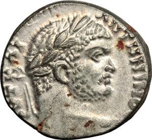 D/ Caracalla (198-217). BI Tetradrachm, Damas mint, Syria, 198-217.  D/ Head of Caracalla right, laureate. R/ Eagle standing frontal, head left, holding wreath; between legs, head of ram. Bellinger 219. BI. g. 12.87  mm. 25.00    VF/About VF.