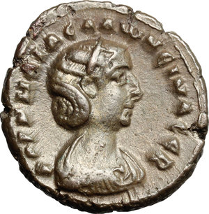 D/ Salonina, wife of Gallienus (died 268 AD). BI Tetradrachm, Alexandria mint, Egypt, 265-266.  D/ Bust of Salonina right, draped, diademed. R/ Eagle standing left, head right, holding wreath; to left, palm branch. Kampmann 91.38. Dattari 5347. BI. g. 10.64  mm. 23.00    Good VF.