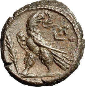 R/ Salonina, wife of Gallienus (died 268 AD). BI Tetradrachm, Alexandria mint, Egypt, 265-266.  D/ Bust of Salonina right, draped, diademed. R/ Eagle standing left, head right, holding wreath; to left, palm branch. Kampmann 91.38. Dattari 5347. BI. g. 10.64  mm. 23.00    Good VF.