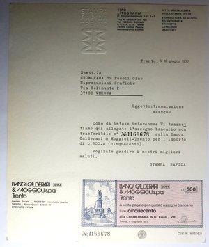 D/ Miniassegni. Banca Calderari & Moggioli Spa. Serie di 2 foglietti con miniassegno da 350 e 500 Lire. Cromorama di g. Fasoli VR. 10-06-1977. FDS.