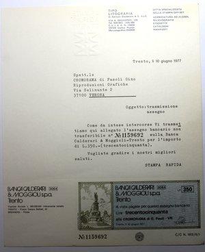 R/ Miniassegni. Banca Calderari & Moggioli Spa. Serie di 2 foglietti con miniassegno da 350 e 500 Lire. Cromorama di g. Fasoli VR. 10-06-1977. FDS.