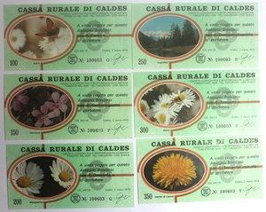 D/ Miniassegni. Cassa Rurale di Caldes. Serie figurativa Fiori completa di 6 pezzi da 100, 150, 200, 250, 300 e 350 Lire. Al portatore. 02-03-1978. FDS.