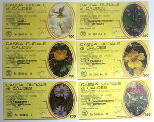 D/ Miniassegni. Cassa Rurale di Caldes. Serie figurativa Fiori completa di 6 pezzi da 100, 150, 200, 250, 300 e 350 Lire. Al portatore. 21-03-1978. FDS.