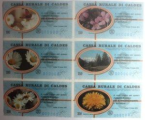 D/ Miniassegni. Cassa Rurale di Caldes. Serie figurativa Fiori Foglietto completo di 6 pezzi da 100, 150, 200, 250, 300 e 350 Lire. Al portatore. 13-03-1978. Numero di serie 000000. FDS.