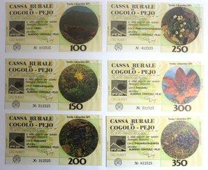 D/ Miniassegni. Cassa Rurale di Cogolo - Pejo. Serie figurativa Fiori completa di 6 pezzi da 100, 150, 200, 250, 300 e 350 Lire. Albergo centrale Pejo. 01-12-1977. FDS.