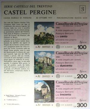D/ Miniassegni. Cassa Rurale di Pergine. Due Foglietti Serie figurativa Castel Pergine. Completa di 6 valori da 100, 150, 200, 250, 300 e 350 Lire. All'ordine mio proprio. 30-10-1977. FDS.