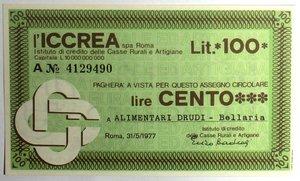 D/ Miniassegni. ICCREA Istituto di Credito delle Casse Rurali e Artigiane Spa. Lire 100. Alimentari Drudi - Bellaria. 31-05-1977. FDS.