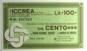 D/ Miniassegni. ICCREA Istituto di Credito delle Casse Rurali e Artigiane Spa. Lire 100. Albergo Ristorante