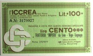 D/ Miniassegni. ICCREA Istituto di Credito delle Casse Rurali e Artigiane Spa. Lire 100. Trattoria