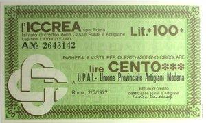 D/ Miniassegni. ICCREA Istituto di Credito delle Casse Rurali e Artigiane Spa. Lire 100. U.P.A.I. Unione Provinciale Artigiani Modena. 02-05-1977. FDS.