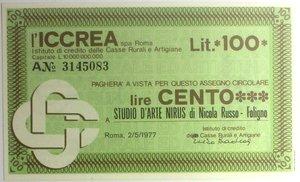 D/ Miniassegni. ICCREA Istituto di Credito delle Casse Rurali e Artigiane Spa. Lire 100. Studio d'Arte Nirus di Nicola Russo - Foligno. 02-05-1977. FDS.