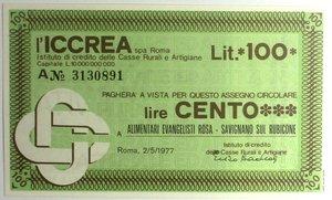 D/ Miniassegni. ICCREA Istituto di Credito delle Casse Rurali e Artigiane Spa. Lire 100. Alimentari Evangelista Rosa - Savignano sul Rubicone. 02-05-1977. FDS.