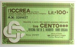 D/ Miniassegni. ICCREA Istituto di Credito delle Casse Rurali e Artigiane Spa. Lire 100. Officina Fiat di S. Diliberto - Bivio Lercara. 02-05-1977. FDS.