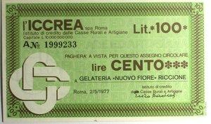 D/ Miniassegni. ICCREA Istituto di Credito delle Casse Rurali e Artigiane Spa. Lire 100. Gelateria