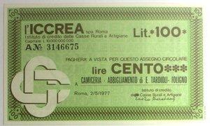 D/ Miniassegni. ICCREA Istituto di Credito delle Casse Rurali e Artigiane Spa. Lire 100. Camiceria - Abbigliamento di E. Tardioli- Foligno. 02-05-1977. FDS.