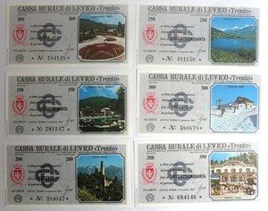 D/ Miniassegni. Cassa Rurale di Levico. Serie figurativa Paesaggi. Completa di 6 pezzi da 100, 150, 200, 250, 300 e 350 Lire. Al portatore. 03/11/1977. FDS.