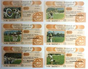 D/ Miniassegni. Cassa Rurale di Levico. Serie figurativa Tiro con l'arco. Completa di 6 pezzi da 100, 150, 200, 250, 300 e 350 Lire. Al portatore. 30/12/1977. FDS.