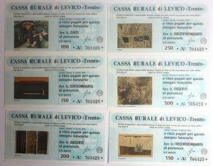 D/ Miniassegni. Cassa Rurale di Levico. Serie figurativa Quadri. Completa di 6 pezzi da 100, 150, 200, 250, 300 e 350 Lire. Al portatore. 14/04/1978. FDS.