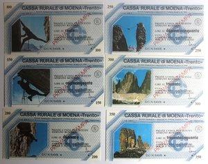 D/ Miniassegni. Cassa Rurale di Moena. Prova di stampa. Serie figurativa Alpinismo completa di 6 pezzi da 100, 150, 200, 250, 300 e 350 Lire. Associazione Albergatori Moena e Passo San Pellegrino. FDS.