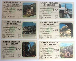 D/ Miniassegni. Cassa Rurale di Tesero. Serie figurativa Paesaggi completa di 6 pezzi da 100, 150, 200, 250, 300 e 350 Lire. Al portatore. 02-12-1977. FDS.
