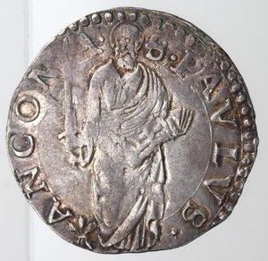 reverse: Ancona. Paolo IV. 1555-1559. Giulio. Ag.