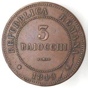 reverse: Bologna. Repubblica Romana. 1848-1849. 3 baiocchi 1849. Ae.