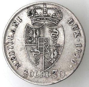reverse: Milano.Francesco II d Asburgo-Lorena, Imperatore e Duca di Milano. 1792-1796.30 soldi 1794.Ag.