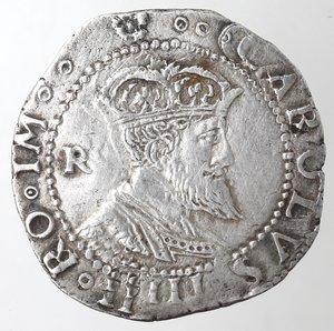 obverse: Napoli. Carlo V. 1516-1554. Tarì sigla R, Ludovico Ram m.d.z.. 1528-1546. Ag.