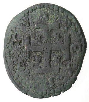 reverse: Napoli. Carlo V. 1516-1556. 2 cavalli con trofeo d armi e croce potenziata. Ae.